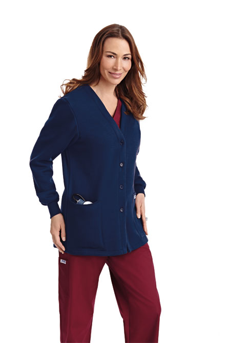 Fleece Button Front Warm-up Jacket