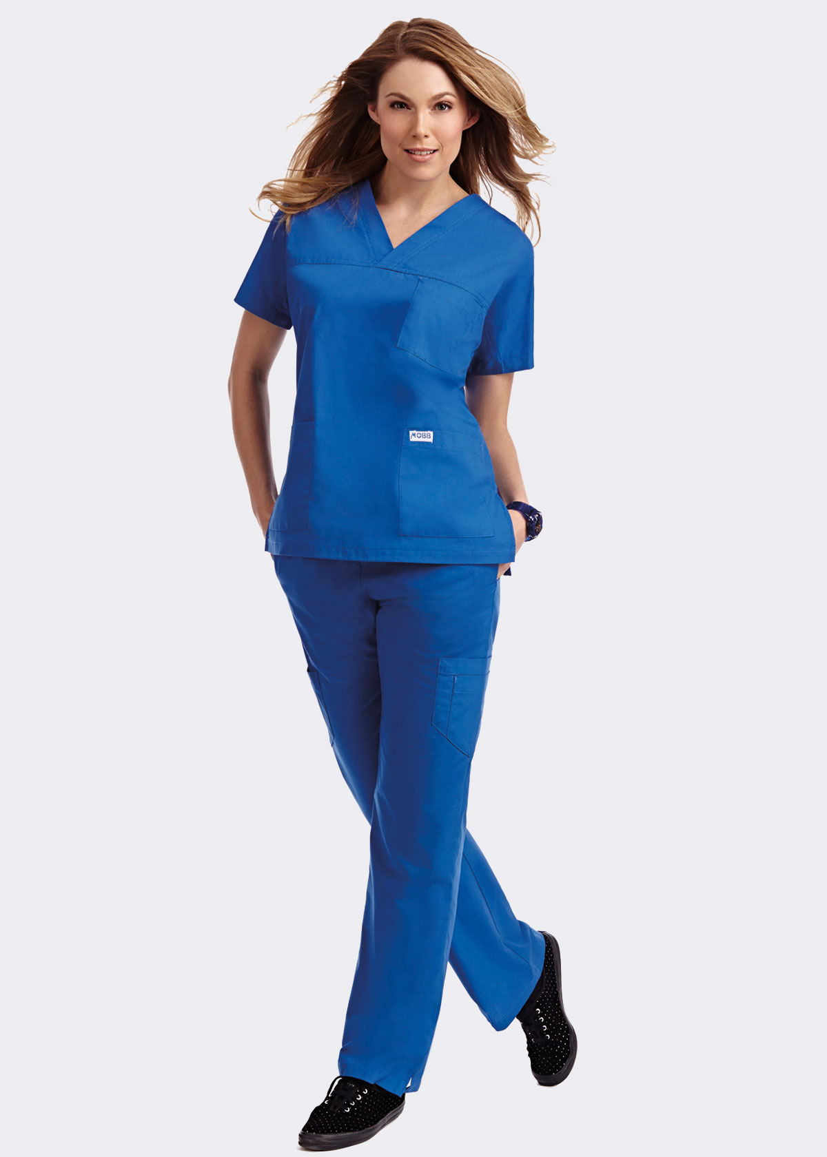 3 Pocket V-Neck Scrub Top, with Flip Flap Scrub Pant